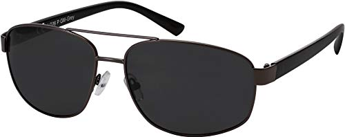 La Optica B.L.M. Sonnenbrille Herren Damen Unisex UV400 CAT 3 Pilotenbrille Doppelsteg - Gun Metall (Gläser: Grau Polarisiert)