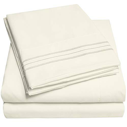 1500 Supreme Collection Extra Soft Split King Sheets Set, Ivory - Luxury Bed Sheets Set with Deep Pocket Wrinkle Free Hypoallergenic Bedding, Over 40 Colors, Split King Size, Ivory