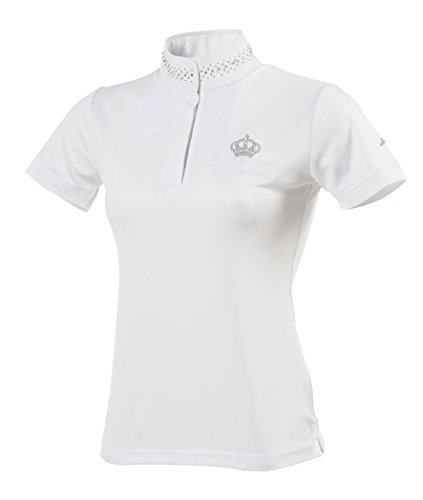 Equi-Theme/Equit'm Damen 987012136 Couronne Short Sleeve Polohemd, White/Silvery Colour Contrasts, Einheitsgröße