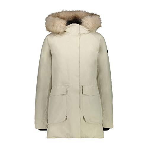 Cmp Parka Con Cappuccio Eco Fur, Giacca Donna, Gesso, 44, Gesso