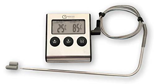 DKB digitales Fleisch Thermometer bis 250° Edelstahlsonde Timer Alarm Ofen