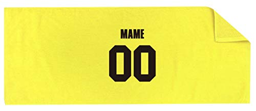 /YYY/名入れ スポーツタオル 【センター】【 番号 名前 】【黄色シャーリングタオル】【黒文字】【フリー】