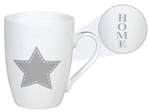 Une tasse Mug motif étoile et HOME vintage pour vos décorations classe Forme légèrement bombée contenance environ : 350 ml décor de table classe sympa idée cadeau Noel anniversaire décoration ALSINO, choisir:101766 blanc