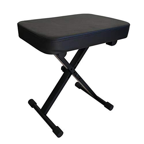 Miwayer Advanced Keyboard Bench, 4 Levels Height Adjustable Piano Stool, X-Style Piano Bench, Sponge Padded Piano Chair (Padded Black)