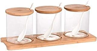 SPNEC 3Pcs / Set à épices en Verre Pot avec Une cuillère Spice Container Organisateur Boîtes Assaisonnement Poivrière Boît...