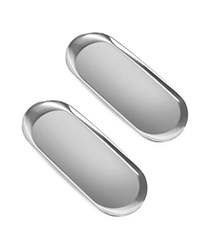 ANZOME 2 Stück Silber Platte Serviertabletts Buffet Platte Schmuckständer Aufbewahrung Dekoration - Oval Groß Silber
