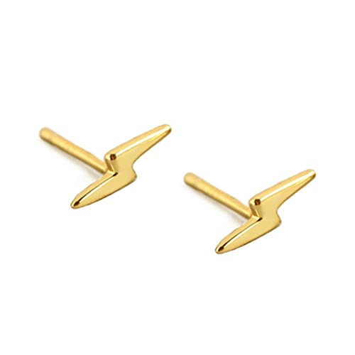 Sterling Silver Lightning Bolt Tiny Stud Earrings for Women Girls Men Hypoallergenic Pierced Ear Minimalist Polished Mini Flash Thunder Button Tragus Post Pin Body Jewelry (8.5mm Gold Plated)