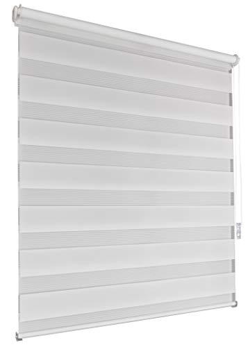 Doppelrollo 130x160cm weiß Klemmfix ohne Bohren Vario Seitenzug Duorollo Zebrarollo Fenster