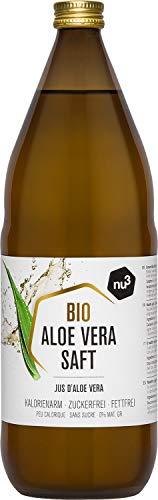 nu3 Zumo puro de aloe vera orgánico - 1 litro en botella de cristal - Gel de aloe vera natural- Jugo de aloe vera 100% ecológico - Ideal para bebidas refrescantes - Detox, vegan y sin diluir