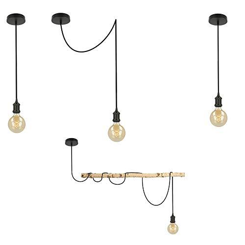 Flairlux Einzelpendel Vintage Metall mit Textilkabel, Baldachin und E27 Fassung | Pendelleuchte | Lampenaufhängung | Deckenlampe | Hängelampe | Schnurpendel | DIY Set (schwarz, 2 meter)