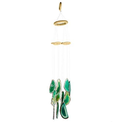 KYEYGWO Windspiel aus Achat, für drinnen und draußen, Kristall, Windfänger für Zuhause, Garten, Dekoration, 50 cm - 60 cm grün