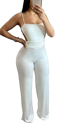 kaimimei Women's Sexy One Piece Outfits Wide Leg Flare Pants Bodycon Rompers Casual Clubwear Playsuit White-S