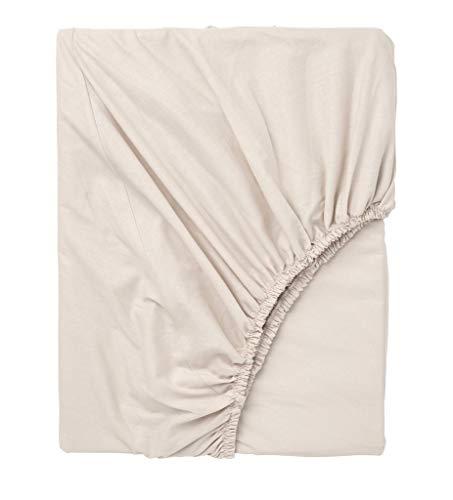 Exotic Cotton Sábana Bajera Ajustable Cama 90 100% Algodón - Bajera con Goma Elástica para Colchón de 90x195x25cm - Suave y sin Pérdida de Color Tras Lavado - Color Beige