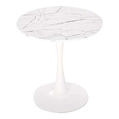 HOMCOM Modern Round Dining Table Leisure Coffee Bistro Table with Metal Base for Kitchen & Dining Room White