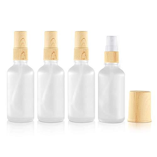 Portable Travel Spray Bottles, Gemice 4 Pack Empty Glass Spray Bottle for Essential Oils, Small Fine Mist Body Spray Bottles with Sprayer (50ml)3