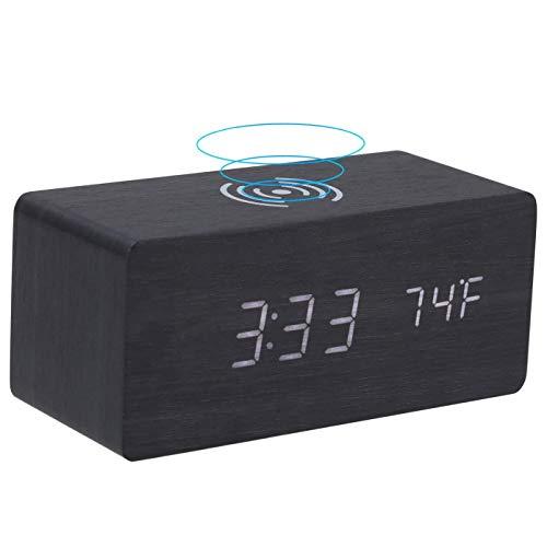 bobotron HHLzerner - Despertador digital con carga Qi inalámbrica, mesita de noche con brillo ajustable, funciona con USB y batería A