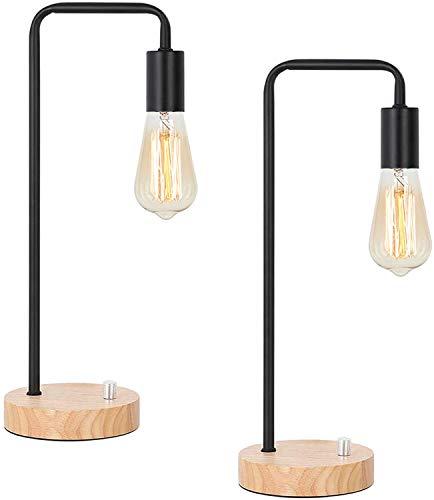 LIANTRAL Juego de 2 lámparas de mesa industriales, lámpara de noche vintage, lámpara de escritorio con base de madera, lámpara de noche retro para salón, dormitorio, oficina, sin bombilla