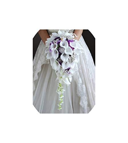 Wasserfall-rote Blumen-Brautsträuße Kunstperlen Kristall Hochzeit Bouquets, Lila