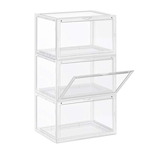 SONGMICS Shoe Boxes, Pack of 3 Stackable Shoe Organizers with Clear Door for Sneakers, Plastic Shoe Storage for US Size 12, 14.2 x 11 x 8.7 Inches, Transparent ULSP03CW