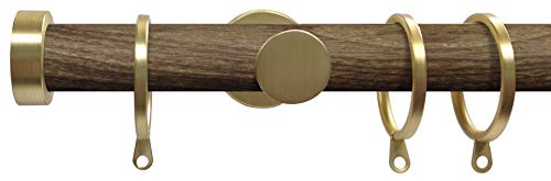Swish Soho Minx 28mm Metal Curtain Pole Set, Brushed Gold, 150cm