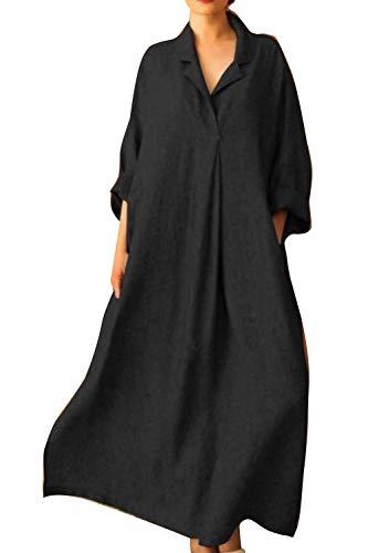 Vestidos Maxi De Cáñamo Casual Primavera Verano Camisa Talla Grande