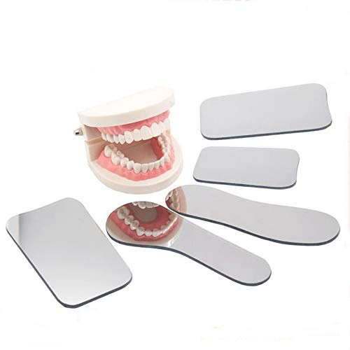 Pofessional 2-Sided Dental Occlusal Photographic Mouth Mirror,Dental Plated Glass Intraoral Photo Reflector 5PCS
