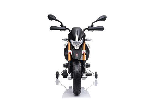 RIRICAR Moto eléctrica Aprilia DORSODURO 900, con Licencia, batería de 12V, Ruedas Suaves de EVA, Motores de 2 x 18W, suspensión, Marco de Metal, Horquilla de Metal, Ruedas auxiliares, Negro