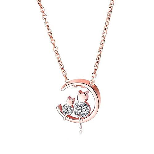 SMEJS collar de luna de gato doble zirconia cúbica chapado en oro rosa joyería de traje regalo para mujeres niñas