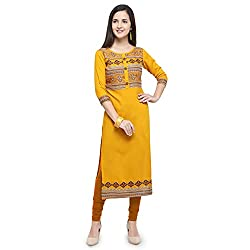 Shopping Queen Womens Rayon Straight Kurti (A116-mustard)