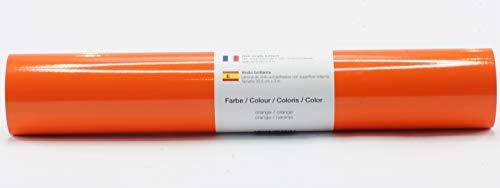Selbstklebende Plotterfolie Vinylfolie 30,5 cm x 3 m glänzend 39 Farben zur Auswahl, Farbe:Orange