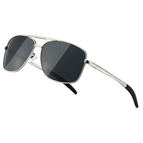 SUNGAIT Men's Polarized Sunglasses Durable Metal Frame for Fishing Driving Golf (Silver Frame/Grey Lens) Metal Frame 0925 YKH