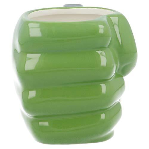 ALMACENESADAN 2579; Taza Cerámica 3D Hulk; puño de Hulk; Capacidad 450 ml