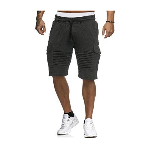 Pantalones Cortos Casuales para Hombre Pantalones Cortos Deportivos de Hip-Hop con Bolsillo Lateral Plisado de Cintura elástica con cordón elástico de Verano XL