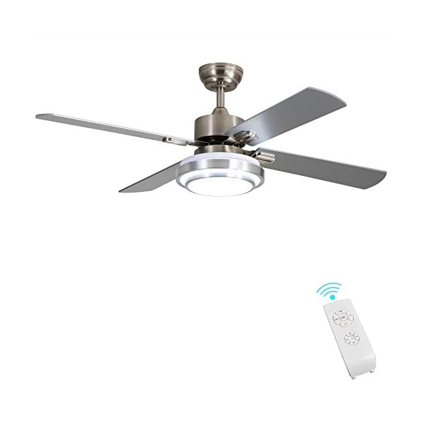 Indoor Ceiling Fan Light Fixtures – FINXIN Remote LED 52 Brushed Nickel Ceiling...