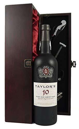 Taylor Fladgate 10 year old Tawny Port (75cls) in Silk Lined wooden gift box en una caja de madera con cuatro accesorios de vino