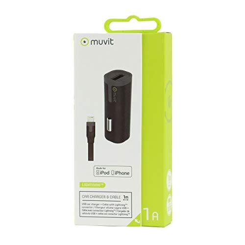 Muvit MUPAK0325 - Pack de Cargador Coche USB (1 A, Cable Lightning...