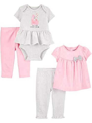 Simple Joys by Carter's 4-Piece Bodysuit, Top, Pant Set Infant-and-Toddler-Pants-Clothing-Sets, Llamas/Lunares, 0-3 Meses, Pack de 4