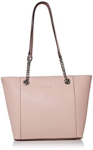 Top quality saffiano Leather Chain handles and top zip closure Exterior back pocket and interior organizational pockets