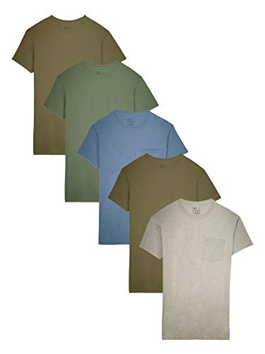 Fruit of the Loom Men's 5-Pack Assorted Pocket T-Shirt, Earth Tones (5 Pack), X-Large