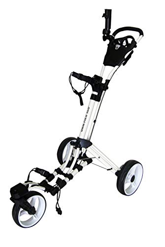 Qwik-Fold 360 Swivel 3 Wheel Push Pull Golf CART - 360 Rotating Front Wheel - ONE Second to Open & Close! (White/White)
