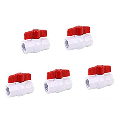 SHYOKO 1/2'' Inline PVC Ball Valve, Compact T-Handle Water Shut-Off Valves for Irrigation and Water Treatment, Female Thread x Female Thread - 5 Pack by SHYOKO