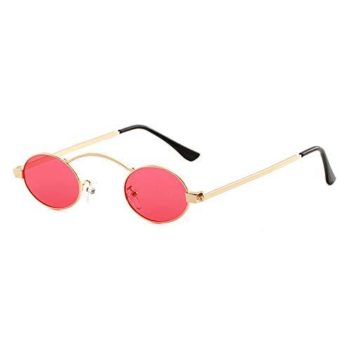 Viudecce Gafas De Ovaladas Pequeeas con Marco De Metal Retro Vintage Redondo Mujer Gafas De Uv400 (Oro Rojo)