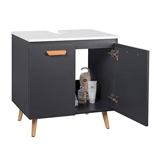 EUGAD Waschbeckenunterschrank Unterschrank Badezimmerschrank Waschtisch Badschrank Beistellschrank mit 2 Türe 60 x 40 x 60,5 cm Weiß/Grau