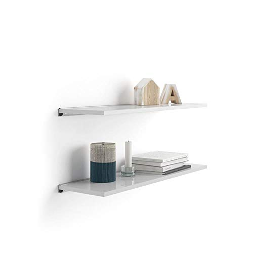 MOBILI FIVER, Paire d'étagères Evolution 60x15 cm, Blanc Laqué Brillant, avec Support en Aluminium Gris, Mélaminé/Aluminium, Made in Italy