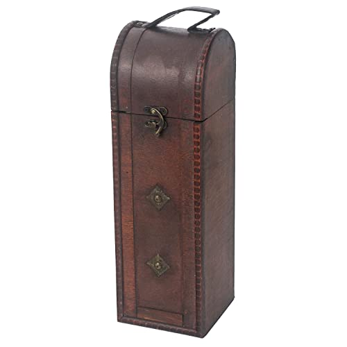 HMF Caja de regalo vintage con tapa de madera, para 1 botella de vino, formato vertical, Italia
