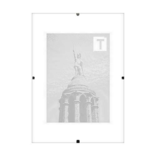 TEUTO BILDERRAHMEN Rahmenloser Bildhalter Ballina Echtglas Antireflex 2mm 21 × 29,7 cm A4 simpel rustikal