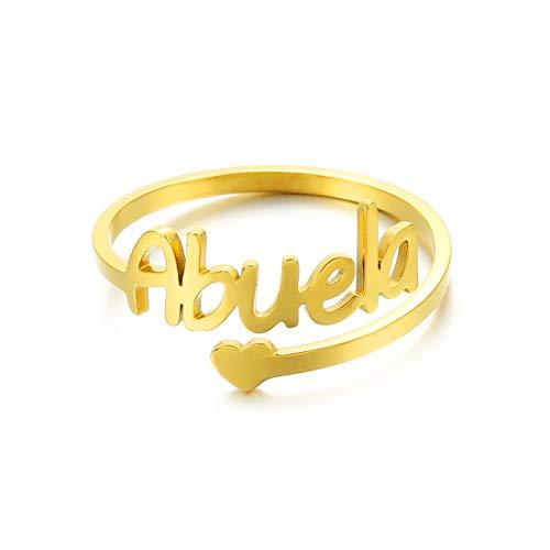 RWQIAN Personalizado Anillo Mujer Hombre Nombre Acero Inoxidable Corazon de Amor Anillo de Mamá Abuela Color Plata/Oro/Oro Rosa Joyería Personalizada (Abuela-oro)