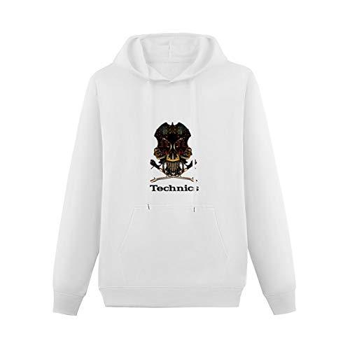 Teenager GraphicHoodie Technics 1200 DJ Skull DJ Vestax Pioneer Serato Traktor Long Sleeve Sweatshirts White XXL
