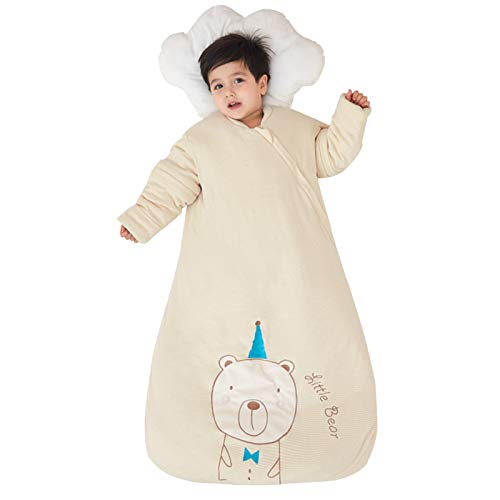 Sacos de Dormir Saco de Dormir al bebé con algodón Grueso, en Forma de Seta integrada Anti Tiro del edredón, edredón antichoque Unisex del bebé (Color : Little Lion, Size : 3 Months -1 Years Old)
