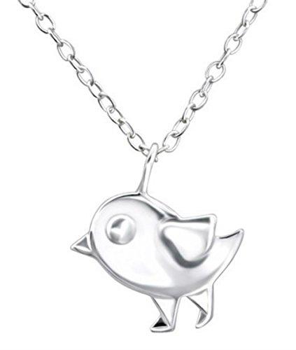 FaithOwl - Collar con colgante de pájaro de origami en plata de ley 925